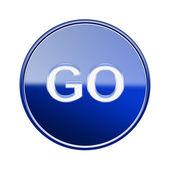 GO icon glossy blue, isolated on white background — Stock Photo