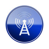 WI-FI tower icon glossy blue, isolated on white background — Stock Photo