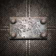 Foto de Stock  : Old metal plate on metallic wall