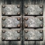 Old metal plate on metallic wall — Stock Photo