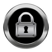 Lock icon silver, isolated on white background. — Stock Photo