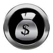 Dollar icon silver, isolated on white background — Stock Photo