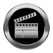 Movie clapper board icon silver, isolated on white background. — Stock Photo