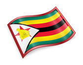 Zimbabwe Flag Icon, isolated on white background. — Photo