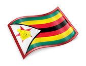 Zimbabwe flaggikonen, isolerad på vit bakgrund. — Stockfoto