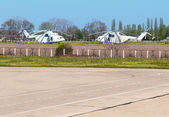 UN helicopters on the airfield — Stock Photo