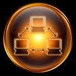 Network icon golden, isolated on black background. — Stock Photo #5727083