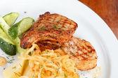 Salmon steak with potatoes — Stock Photo
