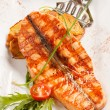 Salmon steak with potatoes - Stock Photo