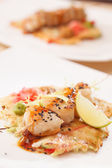 Seafood kebab — Stock Photo