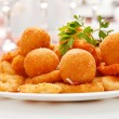 Stock Photo: Fried onion rings and cheese balls