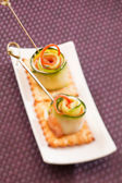 Canape with cucumber — Stock Photo