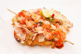 Kebab with shrimps — Stock Photo