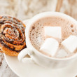 Cinnamon rolls with cocoa — Stock Photo #14483591