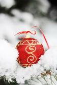 Rote kugel auf dem schnee — Stockfoto