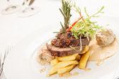 Beef steak with fried mushroom — Stock Photo