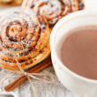 Cinnamon rolls with cocoa — Stock Photo #15693863