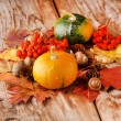 Harvested pumpkins with fall leaves — Stock Photo #15694649