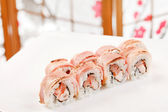 Sushi with shrimp and bacon — Stock Photo
