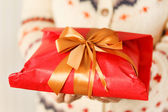 Woman holding presents — Foto Stock