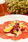 Meat Carpaccio with Parmesan Cheese — Stock fotografie