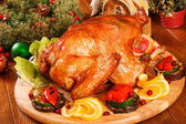 Garnished roasted turkey — Stock Photo