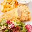 :fish with french fries potatoes - Stock Photo