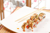 Sushi with eggplant and salmon — Stock Photo