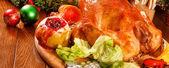 Garnished roasted turkey — Stock Photo