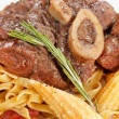 Tasty steak with pasta  — Stock Photo