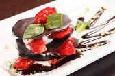 Chocolate dessert with strawberry — Stock Photo
