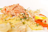 Salmon fillet with potatoes — Stock Photo