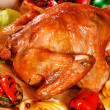 Garnished roasted turkey — Stock Photo #22546565