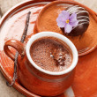 Stock Photo: Hot chocolate with chocolate ball