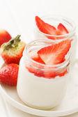 Yogurt with strawberry — Stock Photo