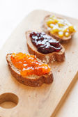 Toasts with jam — Stock Photo