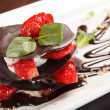 Chocolate dessert with strawberry — Stock Photo