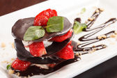 Chocolate dessert with strawberry — Foto de Stock