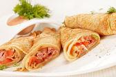 Pancakes with Salmon — Stock Photo