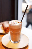 Cappuccino in a glass — Stock Photo