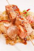 Salmon kebab — Stock Photo