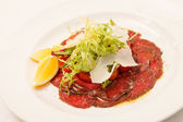 Meat Carpaccio with Parmesan Cheese — 图库照片