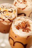 Cold fresh ice coffee with chocolate close up — Stock Photo