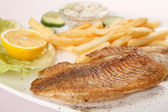 Fish with french fries — Stock Photo
