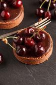çikolatalı tart kiraz ile — Stok fotoğraf