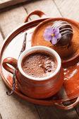 Hot chocolate with chocolate ball — Stock Photo