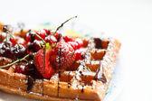 Belgian waffles with fruit — Stock Photo