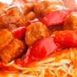 Spagetti with meat. Close up photo — Stock Photo