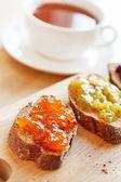 Toasts with jam — Stock Photo