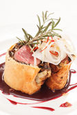 Fillet Wellington with fresh herbs — Stock Photo